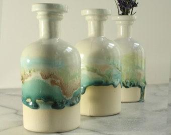 Apothecary bottle chemistry gift for doctor ceramic bottle bud vase medicine bottle ceramic vase science gift for teacher gift wedding vases
