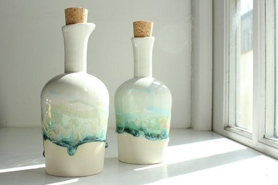 Sauce bottle kitchen Decor ceramic bottle Vinegar bottle Small ceramic bottle Interior design oil Pottery bottle Tiny bottle Tenerife