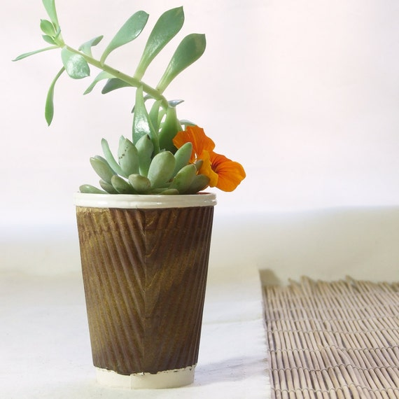 braune keramik blumentopf saftiges pflanzgef oder kaktus etsy. Black Bedroom Furniture Sets. Home Design Ideas
