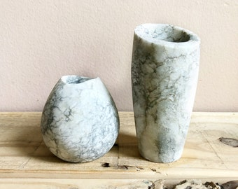 Pair of Carved Stone Bud Vases
