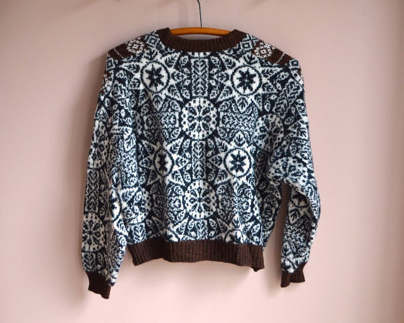 Vintage Cross Front Knit Patterned Sweater