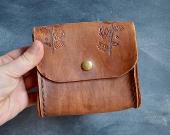 Vintage Tooled Leather Belt Bag, Fanny Pack, Coin Purse