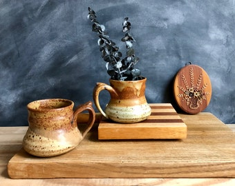 Pair of Handmade Pottery Mugs in Neutral Brown Tones