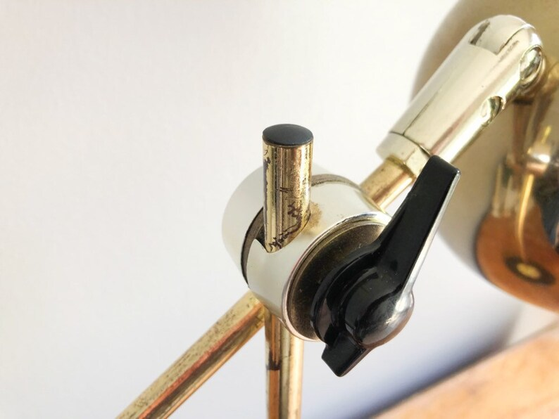Mid-Century Gold-Toned Eye Ball Desk Lamp Marks Lamp by Prestige Sonneman Style