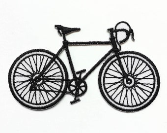"""Bicycle Iron-on Patch - Black & White - Old-school Bike - Appliqué - Embroidery - Size 3.25"""" x 2"""" (P127)"""