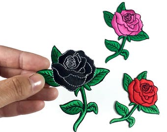 """Rose Patch - Iron-on Patches - Rose Tattoo - BLACK or PINK - Flower Embroidery - DIY Denim Jacket - Size 3.25"""" x 2.5"""" (P055)"""