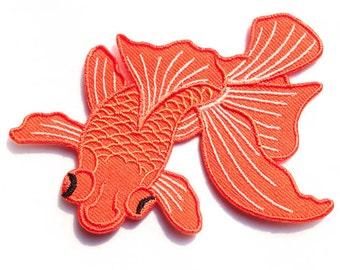 """Japanese Koi - Fish Tattoo - Iron-on Patches - Orange Koi Fish - Tattoo Appliqué - Embroidery - DIY Denim Jacket - Size 4"""" x 3"""" (P056)"""
