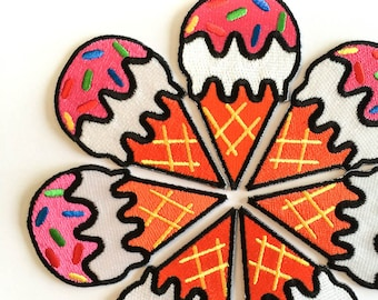 """Ice Cream Cone Patch - Iron-on Patches - Pink Ice Cream Cone - Tattoo Appliqué - Embroidery - DIY Denim Jacket - Size 2"""" x 3"""" (P094)"""
