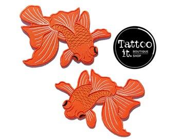 "Japanese Koi Fish, Iron-on Patch, Orange Koi Fish, Denim Jacket Patch, Tattoo Style, Set of 2 Fish, Pair of Koi - Size 3"" x 4""  (KIT005)"