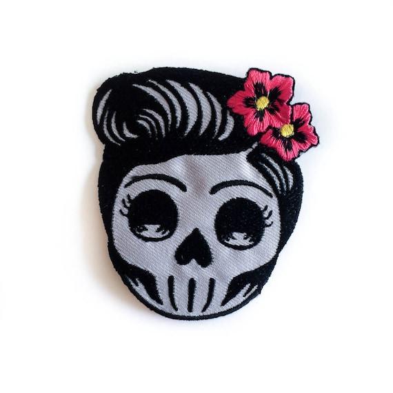 Rockabilly skull patch pin up lady skull iron on badge etsy image 0 mightylinksfo