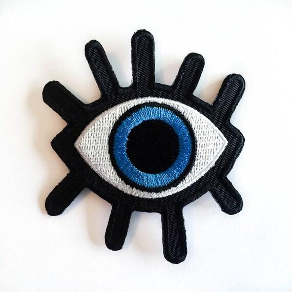 Eye Patch Big BLUE Eye Iron-on Patches Eyelash Evil