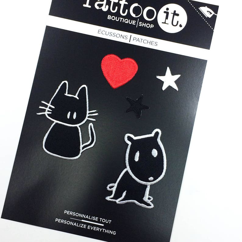 Set of 5 Patches for jacket KIT046 - I Love Cats /& Dogs Iron on patches -