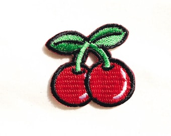 Mini Red Cherry - Iron-on Patches - Fruit Embroidery - Appliqué - Juicy Red Cherries (P076)
