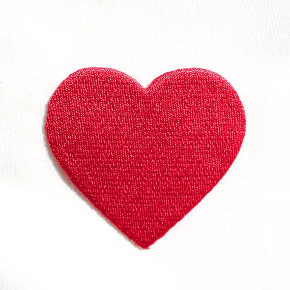 Red Heart Iron On Patches Valentine S Day Embroidery Etsy