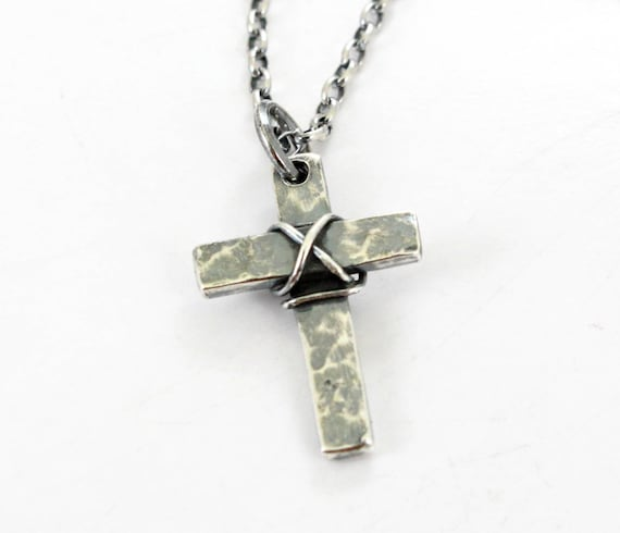 Cross Pendant Handmade Sterling Silver Long Chain