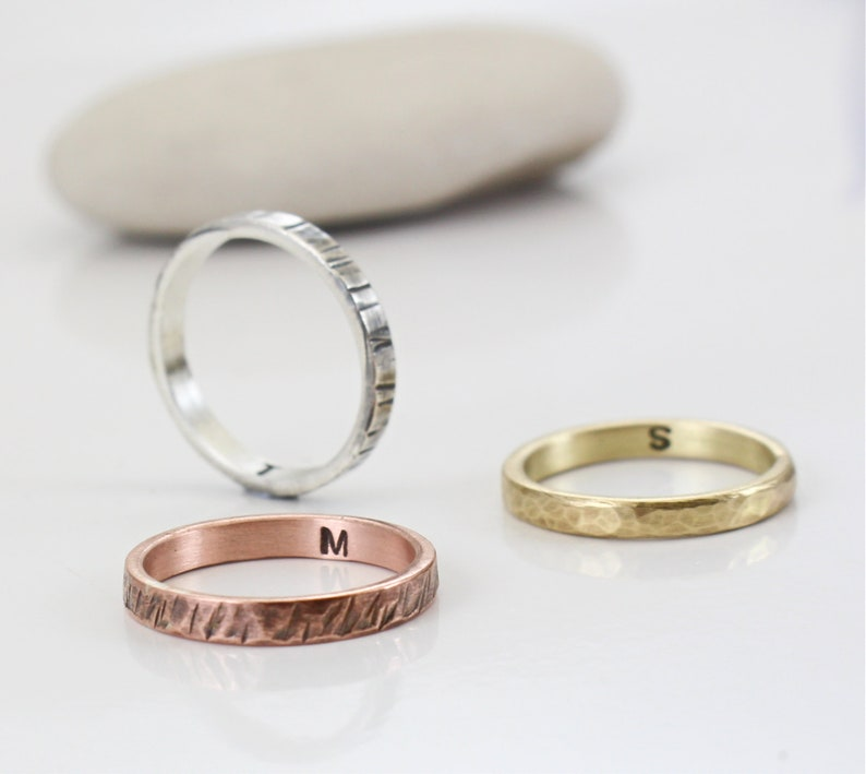 Rose Gold Ring- Sterling Silver Band Women/'s Every day ring Minimal Jewelry Handmade Men/'s Wedding Band Gold Hammered thin Band
