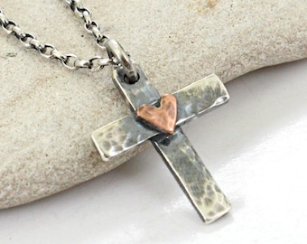 Sterling silver Cross Necklace with Sterling Silver Chain OR Cord -Hammered Handmade Cross.. Men's / Women's Cross pendant .