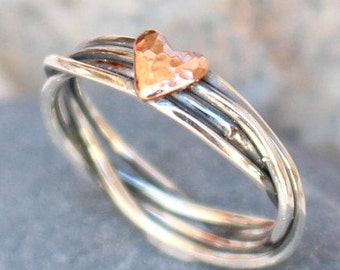 Sterling Silver Love Ring  -Copper heart - Anniversary Gift Ring  Love Ring Mothers Daughters Ring Gift for Her Ring for Her Handmade Ring