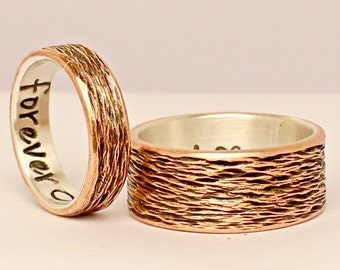 Wedding Ring Set - Personalized Bands - Engagement Rings Couples Rings - Sterling Silver and Copper - Handmade