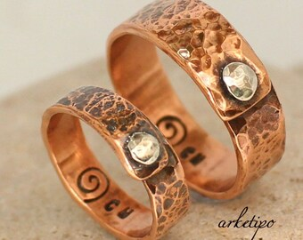 Couples Ring - Copper Bands Set - Wedding / Engagement / Promise Rings - handmade - hammered - hand stamped