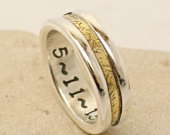 Handmade Custom Ring - Made of Sterling Silver and Brass - Personalized Band - Wedding Ring - Engagement - Promise Ring - Anniversary gift