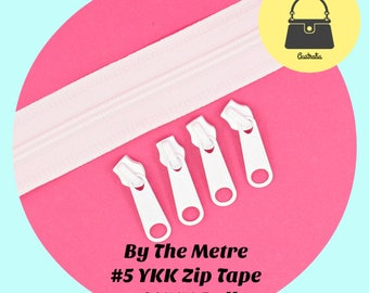 By The Metre - WHITE #5 Genuine YKK Zipper Tape + 4 pulls