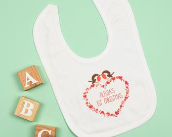 Personalised First Christmas Robin Bib
