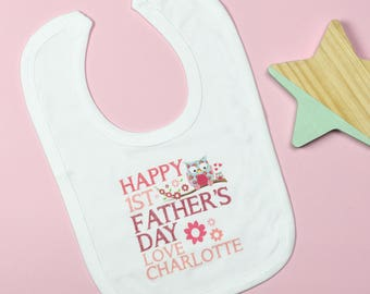 Personalised First Father's Day Bib Pink/Blue
