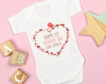 Personalised First Father's Day Heart Bodysuit Red/Blue