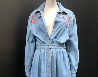 Vintage 80's Embroidered Denim Cinch Waist Full Skirt Button Down Maxi Dress w/ Pockets