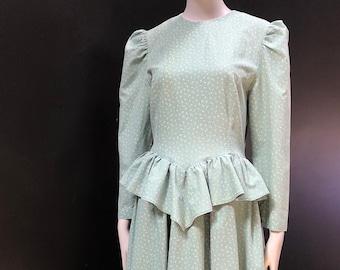 Vintage Calico Cotton Peplum Cottage Prairie Puff Sleeve Handmade Dress w/ Eyelet Ruffle Hem