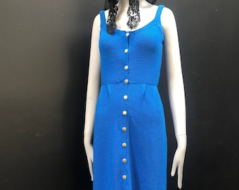 Vintage Fitted Hand Knit Azure Blue Tank Pencil Dress w/ Gold Buttons