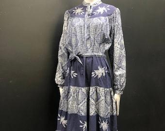 Vintage 70's India Cotton Metallic Lurex Embroidered Semi Sheer Prairie Peasant Dress