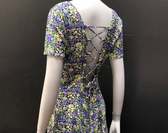 Vintage 80's Sweetheart Blueberry Print Lace Back Skater Dress