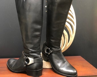 Vintage 90's Via Spiga Tall Harness Black Leather Riding Boots