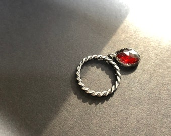 Drop of My Love Twisted Argentium and Hessonite Garnet Charm Dangle Ring