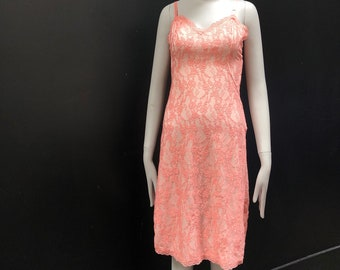 Vintage 60s Bubble Gum Pink Lace Slip Dress w/ Adjustable Satin straps