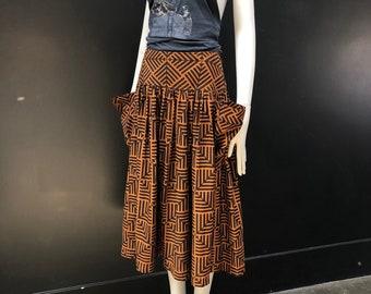 Vintage 80's Graphic Print Oversized Pocket Full Yoke High Waist Skirt