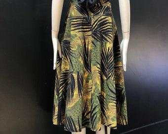 Vintage 80's Tropical Safari Print Yoke Waist Skirt w/ Deep Pockets + Belt loops