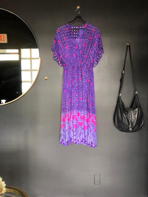 Vintage 80s Silk Floral Dress