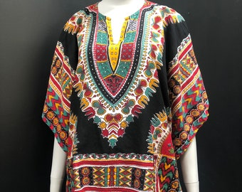 Vintage 70s Tissue Thin Semi Sheer India Cotton Daishiki w/ Angel Wing Sleeves