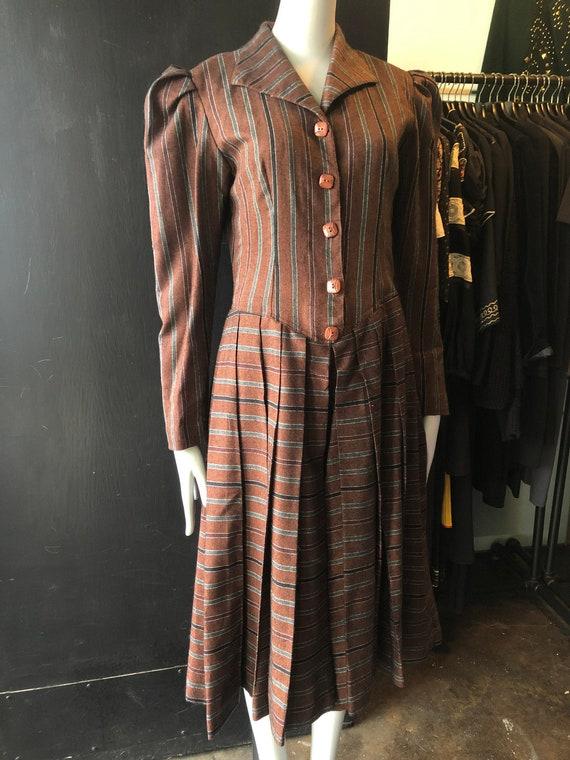 Vintage 30's Wool Stripe Swing Dress w/ Puff Sleev