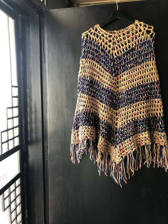 Vintage 70s Hand Knit Poncho