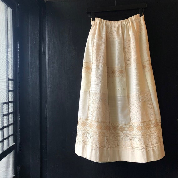 Vintage Cream Lace Homemade 70s Patchwork Skirt