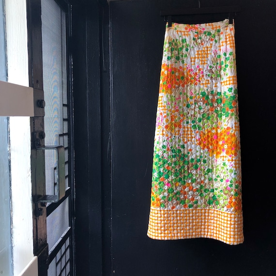 Vintage Psychedelic Quilted Maxi Skirt