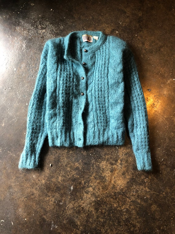 Vintage 80s Teal Cable Knit Cardigan