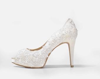 0e55f3281b60 Rosie V2 Ivory Lace Wedding Shoes