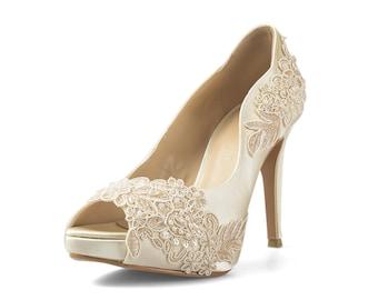 Miss Ace 2.1 Ivory Wedding Heels, Ivory Satin Bridal Heels, Ivory Lace Wedding Shoe, Ivory White Wedding Heels, Lace Wedding Shoe