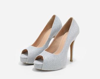 Princess Silver Glitter Custom Made Wedding Heels, Silver Glitter Bridal Heels, Custom Made Wedding Shoes, Glitter Wedding Heels