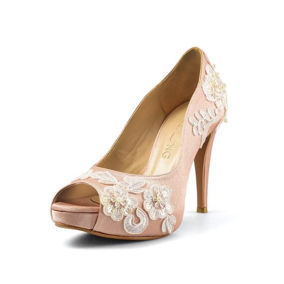 aba2f315a73 Aloha Nude Wedding Shoe Peach Lace Bridal Heel Peach Satin